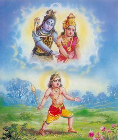 Murugan descends from Mount Kailasa and heads for South India and Kataragama.