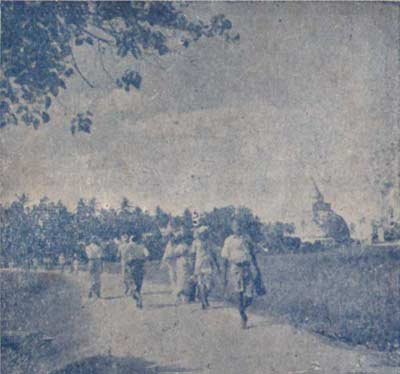 Foot pilgrims en route from Tissamaharama to Kataragama, mid-1940s