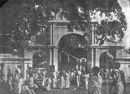 Arch entrance to Kataragama Mahadevale in 1953