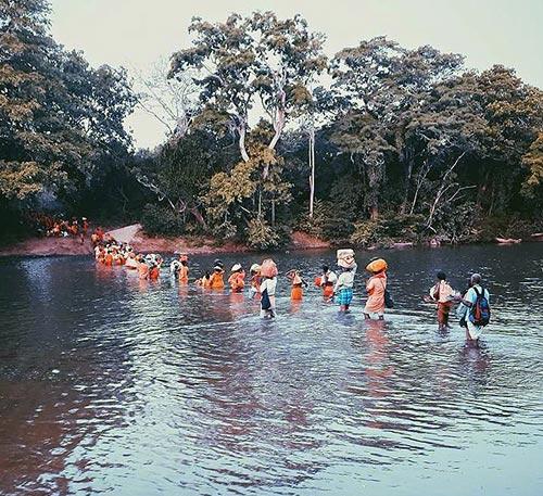 Pada Yatra pilgrims enter Yala National Forest