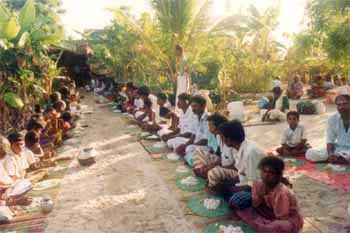 Annadanam or the offering of food to pilgrims is the basis of Pāda Yātrā.