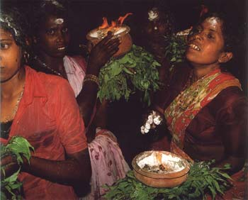 Women offer clay pots of burning camphor to Lord Kataragma and His entourage