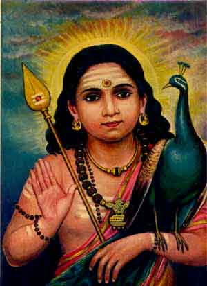 Bala Murugan the Divine Child with His symbols the Vel Ayudha or Spear of Wisdom and vehicle/totem the Peacock = Phoenix. Behind Him rises the morning Sun symbolising bodhi (the awakened mind).