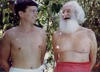 Patrick Harrigan with German Swami Gauribala, ca. 1980