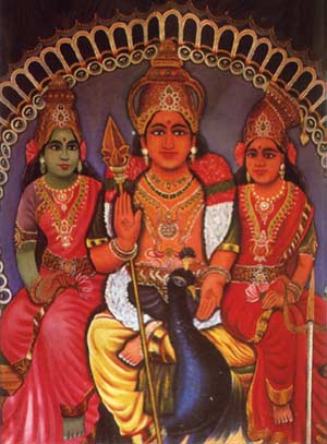 Lord Kataragama Skanda with Valli and Devasena
