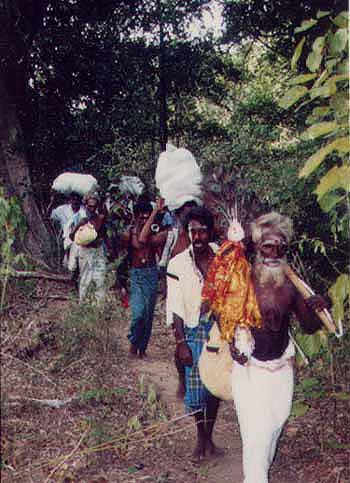 Pada Yatra pilgrims in Yala National Park, July 2001