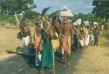 Ardent devotees from the North and East walk barefoot for weeks to reach Kataragama during the annual Esala festival