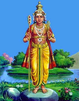 Murugan as Saktidharar, 'He who holds the Sakti (Skt. shakti = 1. spear 2. subtle power 3. divine consort).