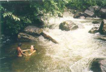 Author bathing in nearby stream with children